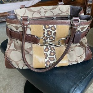 Authentic leather animal print Coach purse